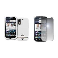 for Motorola Photon White Silicone Skin Case Cover+Mirror Screen Protector