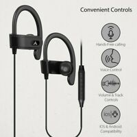 Avantree Wired Sports earphones with Mic, Over ear hook, workout gym black buds