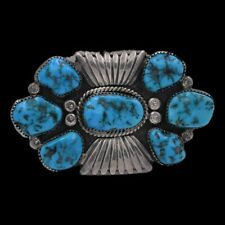 Signed Navajo Old Pawn Sterling Silver Handmade Natural Turquoise Cluster Brooch