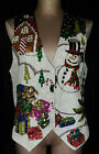 Womens UGLY CHRISTMAS Tree Snowman Presents VEST Hand Made Size Large