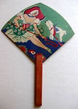 Vintage Bridge Tally Hand Fan Mary and her Little Lamb