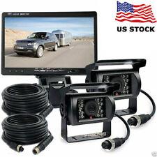For RV Truck Bus Van Dual Rear View Backup Camera Night Vision Kit + 7