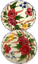 Set of 2 Vintage Simpsons Potters Salad Plates England Red Yellow Flowers 652