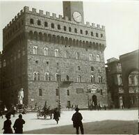 ITALIE Florence Palazzo Vecchio c1900, Photo Stereo Grande Plaque Verre
