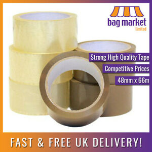 """Strong Parcel Packing Tape Brown/Clear/Fragile 48mm x 66m   Carton/Cellotape/2"""""""