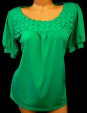 Ab studio green basket weave detail ruched sleeve plus slinky stretch top XL
