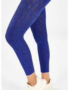 Fabletics Mid Rise SculptKnit Leopard Textured 7/8 Leggings Purple Size Small S