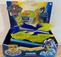Chase Mighty Pups CHARGED UP Paw Patrol Deluxe Vehicle Figure Lights Sound
