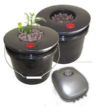 Dual 3.5 Gallon Deep Water Culture (DWC) Grow Bucket Hydroponic System Kit