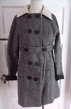 Quiksilver Faux Shearling Double Breasted Herringbone Tweed Wool Coat Womens S