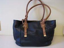 Audrey Brooke Steph Black Pebble Leather Purse Handbag Tote Nwt