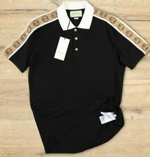 GUCCI T Shirt Black Logo Jacquard WebbingTrimmed Stretch Piqué Polo S