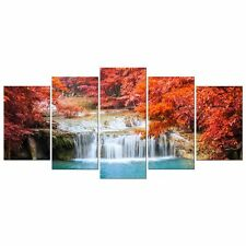 Canvas Print Picture Photo Painting Landscape Red Woods Waterfall Home Decor Art