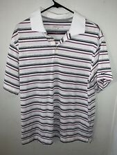 Nike Golf Dri Fit Polo Shirt Men's L Gray Pink Striped Short Sleeves Collared