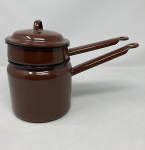 Vintage Made In Poland Enamelware Brown Pans Stackable Camping Retro