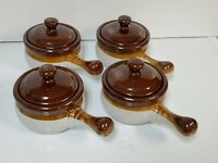 4 French Onion Soup/Chili Pottery Crock Pot Bowls With Handle & Lid Brown