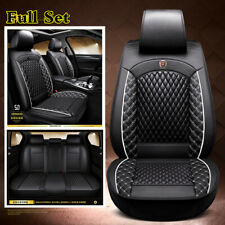 Universal Black Diamond Lattice PU Leather Seat Covers Cushions For 5-Seats Car