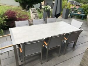 "Sitzgruppe ""Kaleo"" ausziehbar160-220 x 92 cm HPL Beton-Optik beige  / Edelstahl"