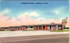 McKINNEY, Texas  TX    Roadside  STEWART MOTEL  ca 1940s Linen   Postcard