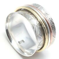 Solid 925 Sterling Silver Spinner Ring Meditation Ring Statement Ring Size SR715