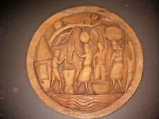 """Large 19"""" Round Wood Hand Carved Tribal Wall Plaque Wall Art Hanging Decor"""