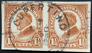 U.S. Used #576 1 1/2c Harding Imperf Pair. Lovely Cupertino CDS Cancel. A Gem!