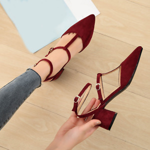 Womens Chic Pointy Toe Work Pumps Chunky Block Mid Heels Buckle Shoes Slingbacks