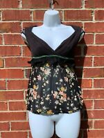 Free People Boho Black Floral Lace Embroidered Semi Sheer Blouse 6 Small Shirt