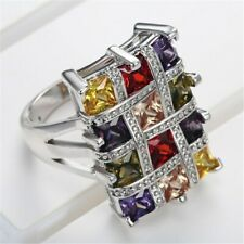 High Quality Cz Crystals Ring Contemporary Luxury Large Wide Setting Multicolor