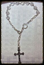 Handcrafted Beaded Rosary Bright Silver Links Smoky Gray Faceted Glass Beads