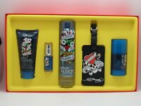 Ed Hardy Love Luck by Christian Audigier Men 5 PC Set 3.4 oz EDT + Luggage Tag
