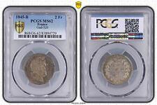 M5494 Rare 2 Francs Louis Philippe I 1845 B Rouen PCGS MS62 Argent Silver SPL