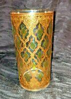 Vintage MCM Culver 22k Gold Valencia Highball Tumbler glass avocado green
