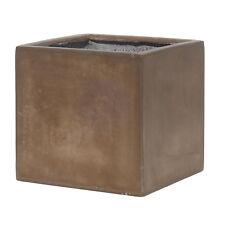 30cm CLEARANCE Brown Fibreglaze Cube Planter/Square Box/Plant Pot