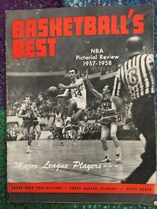 1957-1958 NBA BASKETBALL'S BEST Magazine PICTORIAL REVIEW Cousy Boston Celtics +