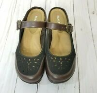 RIALTO Viva Women's Two Tone Brown Slip On Mule Clog Style Shoes sz 7 M