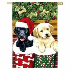 New listing Stocking Puppy Dog Pair 12 x 18 Small Garden Flag Banner Holiday