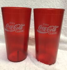 Vintage Red Diner Acrylic Tumbler COCA COLA CLASSIC Set Of 2 Lot 28oz Cambro Hug