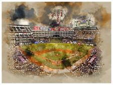 "Texas Rangers Poster Watercolor Art Print Man Cave Decor 12x16"""