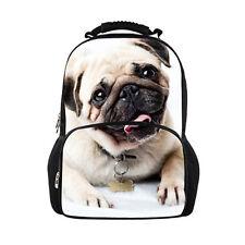 White Cute Pug Fashion Women Backpack School Bags Satchel Bookbag Shoulder Bag