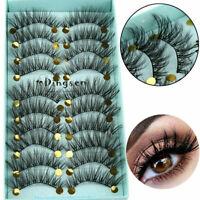 10 Pairs 3D Mink Hair Fluffy Wispy False Eyelashes Long Eye Lashes Extension Set