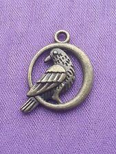 10 x mignon 3D Bronze Corbeau Crow & Lune Charms Pendentif Pagan Wiccan Viking 17 mm