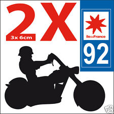 2 stickers autocollants style plaque immatriculation moto Département  92