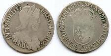 TOP RARE MONNAIE ROYALE 1/2 ECU A LA MECHE LONGUE DE LOUIS XIV EN ARGENT 1650 Q