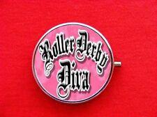 ROLLER DERBY DIVA GIRL SKATE RING TRINKET STASH ROUND MINT METAL PILL BOX CASE
