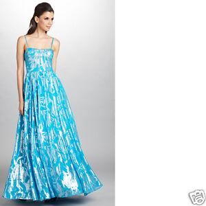 NWT Aidan Mattox SILK blue foil prom social occasion cocktail party dress 6