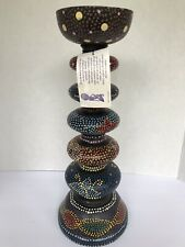 """14"""" tall Black colorful dots Painted Pillar Candle Holder Made In Indonesia"""
