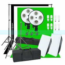 1800W Photo Studio Continuous Lights Softbox 3X Backgrounds Backdrop & Stand Kit