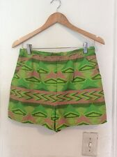 Cute Ethnic Patterned Metallic Accent Shorts, size Small