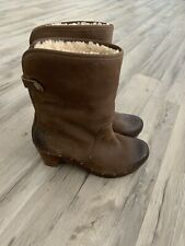 Womens Brown Leather Wedge UGG Boots Practically BRAND NEW! Size 4.5 Uk 37 EU